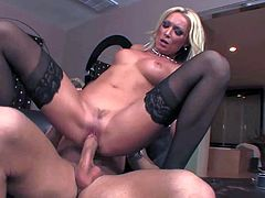 Turned on lusty blonde milf Diana Doll with juicy curves and heavy make up in stockings only gets caught playing with vibrator by young stud Mick Blue. He helps he cum loudly.