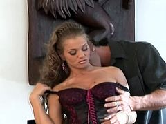 Sizzling and delicious sex doll Rita Faltoyano gets naked and rubs his cock with her tits. Then he sticks it in her asshole and she moans!