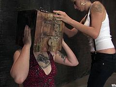 Apart from the wicked bondage, there's some pretty fucked up torture and spanking with toying action too in this lesbian BDSM.
