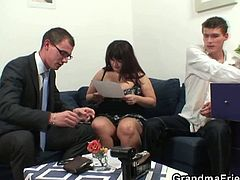Check out these horny dudes banging a horny and huge bitch. She is ready to experience some really hardcore banging into her fat cunt by these experienced lads.
