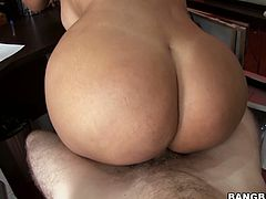 Curvaceous brunette chica with big boobs and phat booty is filming in hot Bang Brod porn clip. She gives professional blowjob looking straight to the cam. Later on she gets on top of hard shaft bouncing her ass actively.