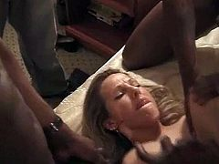 Three black guys dominate a white wife