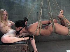 This sizzling and super naughty Asian honey Jandi Lin is being tortured so fucking hard. She gets hogtied and suspended with her mouth gagged. Aiden Starr is so cruel!