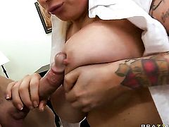 Johnny Sins plays hide the salamy with Candy Manson with massive knockers