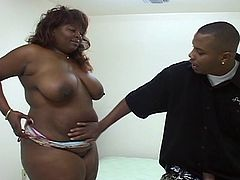 Bouncing tits BBW fucked hard in her greasy pussy as she rides that monster black cock. She was expecting some horny stretching and that massive tool is ready to give it to her. Listen as she moans like crazy with every stretching attempts.