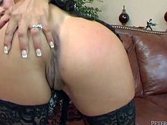This extremely seductive brunette knows what seduction is all about! She fucks her pussy with her sex toy in front of her lover because she knows that kind of thing turns him on. Then she pleases him with a blowjob. Damn, that big juicy ass of hers drives me insane!