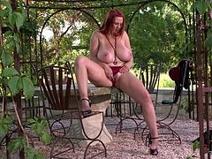 Curvaceous mom with huge natural boobs exposes her goodies outdoor. She kneads her twins passionately. Arousing porn clip presented by DDF Network.