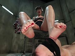 Dana got Wolf under her foot, literally! The sensual milf wears her very sexy nurse costume, dorky glasses and her lips are red, red as Wolf's. She taunts the guy with her feet, stepping on his face and putting her heel in his mouth. Yeah, she loves the feeling of domination! Find out what else she likes!