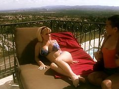 Outdoor session on the terrace with two kinky lesbian chicks Holly Halston and Man Mikita! They are two filthy lesbian bunnies.