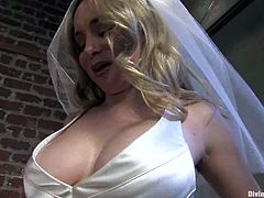 Aiden Starr loves bondage, so she decides to test her fiance before they get married. She ties him up and fixes clothespins to his body. Then she also gives him a handjob and toys his ass with a strap-on.