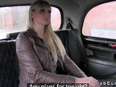 Tall big tits natural blonde amateur in exchange for free taxi drive sucks and gags on huge dick of faketaxi driver and gets pussy fucked on backseat in public