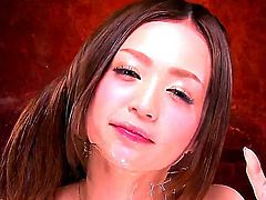 Aroused and pretty hot asian cutie Karin Kikumi enjoys in showing her seducing skills in front of the camera by playing with her shaved taco and rubbing against the mirror