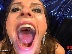 Wild Susi enjoys massive loads of cum splashing her face and tits in gang bang porn
