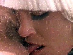 Needy beauties having their warm vags deep stimulated in retro lesbian oral show