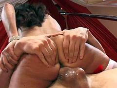 Hot four-eyed sexy Ann Marie with raven hair exposes her juicy butt while getting her wet fuck hole drilled hard and deep by horny guy. He bangs her snatch non-stop and cant get enough.