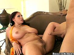 Hot brunette Gianna Michaels shows her enormous natural tits to some guy and drives him mad with a titjob. Then they fuck in missionary and side-by-side positions and seem to enjoy it much.