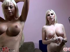Two amazing blondes Christie Stevens and Rikki Six undress and demonstrate their huge boobs to some dude. Then they suck and rub his wang and moan loudly with pleasure.
