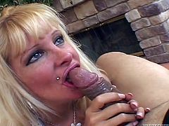 Lewd blonde milf drives some guy crazy with a passionate blowjob. Then she gets her extremely wet cunt fucked in cowgirl and missionary positions and gets her mouth filled with jizz.