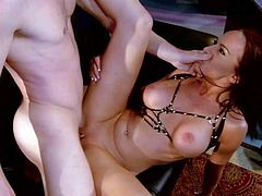 Smoking hot redhead stripper with big firm hooters and long legs has big smile on pretty face while tall Michael Vegas is boning balls deep her tight hairless pussy.