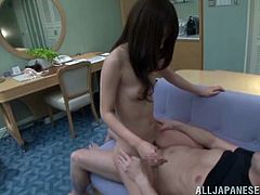 That hairy pussy of this slutty and kinky Japanese girlfriend is being explored so hard! She gives a nice head and then she rides that huge cock!