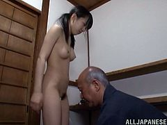 Skinny Marin Aono gets her titties and pussy massaged by some tricky old fart. Then this cutie drops to her knees and gets fucked in her mouth.