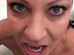 Hairy milf with staggering tits gets pounded by younger dick and filled with cream
