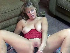Curvy blonde wife Liisa inside darky boots and bonking her cunt about the oustanding boner