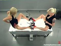 Jolene and Lorelei Lee take their black dresses off and get their juicy pussies toyed. After that they also get their asses drilled by fucking machines.