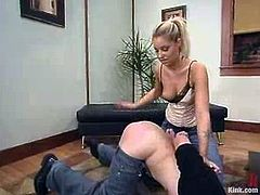 Mr. Eth gets his nipples pinched by Hollie. After that she ties him up and spanks the ass. Then he gets his ass destroyed with a strap-on.