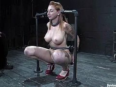 Salacious milf Scarlett Pain is having fun with some guy in a basement. She lets him play with her shaved cunt and gets her ass beaten like never before.