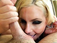 Shay Sights finds her mouth filled with Mark Ashley's rock hard cock