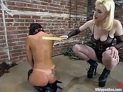 Huge tittied Summer Cummings gets her nipples and pussy tortured with claws by nasty Cowgirl. Later on Summer also gets whipped.
