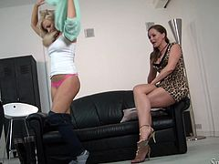 Amazingly hot blonde girl strips her clothes off in front of Silvia Saint. After that she starts to fondle her nice tits and shaved pussy.