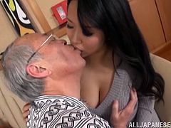 Grandpa sure had the time of his life when this gorgeous little asian slut with huge breasts decided to give him a little fuck session. He is so happy when he plays with those perfect tits and sees her get even more horny. Finally he takes of her panties and enjoys her little wet asian pussy.
