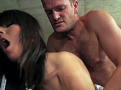 Young gorgeous black haired Melanie Memphis with delicious round ass and natural boobs bends over for Ian Scott and has wet orgasm while pounds her in doggy style position.