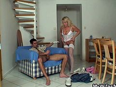 Granny seduced son in law for sex while daughter is away. She sucks his young cock and rides on it for one hardcore drilling encounter.