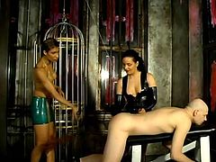 A kinky bald dude is playing BDSM games with hot Mistress Alexa and her assistant. The bitches humiliate the dude and then smash his butt with a strapon from behind.