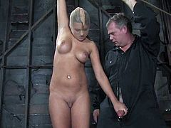 Bound Carmen McCarthy gets her hot tits tortured