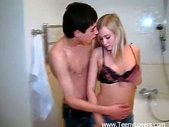Teeny Lovers brings you an amazing free porn video where you can see how a lovely blonde teen gets fucked in the bathroom after blowing her man's hard cock.