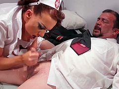 Carina Roman is a dirty nurse that gives some pleasure to fat man at the hospital. She licks his balls and sucks his cock. Nurse strokes his dick with her hand at the same time. Watch her make him cum.