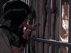 Tara Lynn Foxx gives great blowjob to lucky prisoner through the bars. She puts his lips on his hard dick and gives him pleasure he wont soon forget. She bares her perfect tits while giving blowjob.