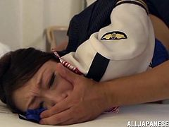 There's some kinky bondage in this video with the busty Asian Reiko Kobayaka who is taken by assault and gets her pussy toyed and fingered.