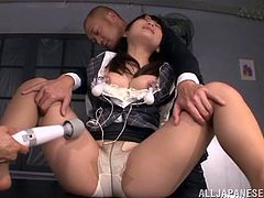 Sexy office slut Mao Kurata with panties and miniskirt fucked missionary by two studs from Japan. She will get cum on tits at the end.