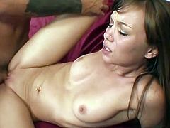 In order to make his dick much more wet and stiff, this pretty brunette sucked it and later loaded it into her pussy after he spilled a lots of sperm on her