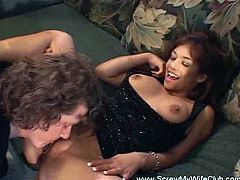 Screw My Wife Club brings you an amazing free porn video where you can see how a nasty brunette swinger wife gets fucked in front of her husband before getting creamed.