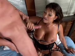 Simply hungry brunette milf is waiting for a huge cock