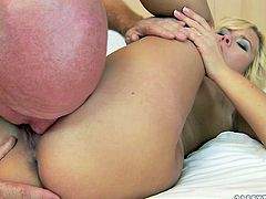 This blonde slut needs a wild, break-the-bed type of fucking. She climbs on top of her lover and fucks him hard in this position. Then she makes him worship her swollen pussy.