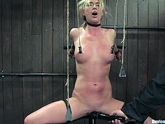 Insatiable blonde Mason loves pain. That is why she lets some guy tie her up, pull her by the nipples and destroy her cunt with a toy in some dirty basement.