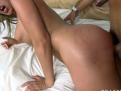 Trashy blonde hooker with huge tits is sucking hard dick deepthroat. She also nailed deep in her cunt missionary and doggy style. Watch this dirty sweaty fuck scene presented by Brazzers Network.