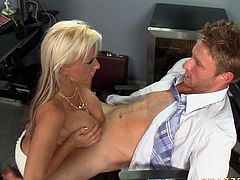 Buxom porn slut Holly Halston sucks meaty cock deepthroat. She then lies on a table with her legs wide open. She gets her coochie polished properly. Later on she is drilled in her wet slick pussy hole in a missionary position.